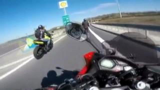 (Özel) Kuzey Marmara Otoyolu'nda motosikletli ölümden kıl payı kurtuldu
