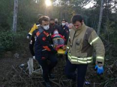 Kayışdağı Ormanı'nda mantar toplarken yere düşen yaşlı kadının ayağı kırıldı