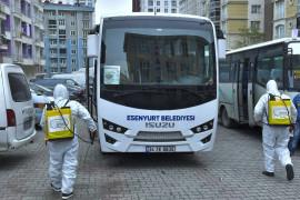 Esenyurt'ta pazar servisleri dezenfekte ediliyor