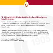 Galatasaray'da Olağanüstü Seçim Genel Kurul Toplantısı iptal edildi